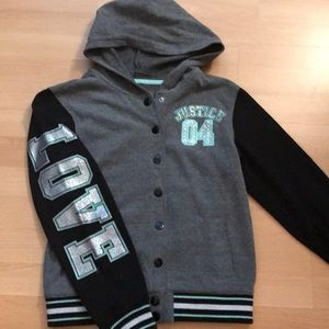 Justice Girls Varsity style button up hoodie 12/14